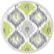 Calyx Ikat Pattern Round Beach Towel by Mindy Sommers