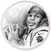 Cam Newton Round Beach Towel by Greg Joens