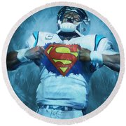 Cam Newton Superman Round Beach Towel by Dan Sproul