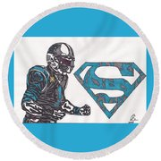 Cam Newton Superman Edition Round Beach Towel by Jeremiah Colley