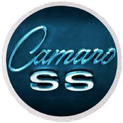 Round Beach Towel featuring the photograph Camaro S S Emblem by Mike McGlothlen