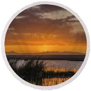Round Beach Towel featuring the photograph Camas National Wildlife Refuge by Yeates Photography