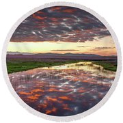 Round Beach Towel featuring the photograph Camas Spring Sunrise by Leland D Howard
