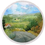 Cambria Countryside Round Beach Towel