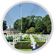 Round Beach Towel featuring the photograph Cambridge England American Cemetery by Alan Toepfer