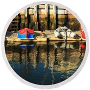 Camden Boats Round Beach Towel