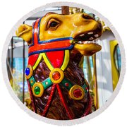 Camel Carrousel Ride Round Beach Towel by Garry Gay