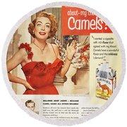 Camel Cigarette Ad, 1951 Round Beach Towel