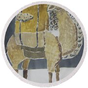 Camel Facing Right Round Beach Towel