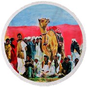 Camel Festival Round Beach Towel by Khalid Saeed