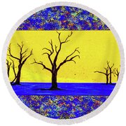 Camel Thorn Trees  Round Beach Towel