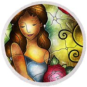 Lady Camellia Round Beach Towel