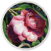 Round Beach Towel featuring the painting Camellianne by Andrew King