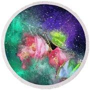 Camellias In A Galaxy Far Far Away Round Beach Towel