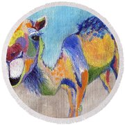 Round Beach Towel featuring the painting Camelorful by Jamie Frier