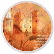 Round Beach Towel featuring the digital art Camelot 2017 by Kathryn Strick