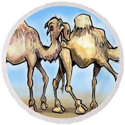 Camels Round Beach Towel