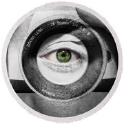 Camera Face Round Beach Towel