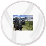 Camera Mountain Round Beach Towel