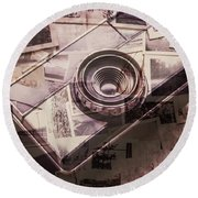 Camera Of A Vintage Double Exposure Round Beach Towel