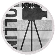 Cameras Rolling- Art By Linda Woods Round Beach Towel