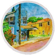 Round Beach Towel featuring the painting Camilles Place by Eric Samuelson