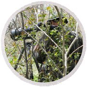 Round Beach Towel featuring the photograph Camouflage by Ann Horn