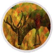 Camouflage Deer Round Beach Towel