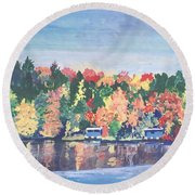 Camp Archbald At Ely Lake Round Beach Towel