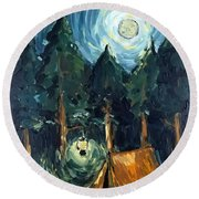 Camp At Night Round Beach Towel