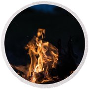 Camp Fire And Full Moon Round Beach Towel