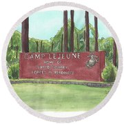 Camp Lejeune Welcome Round Beach Towel