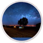 Round Beach Towel featuring the photograph Camp Milky Way by Mark Andrew Thomas