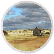 Round Beach Towel featuring the photograph Camp On The Marsh And Dunes by Roupen  Baker
