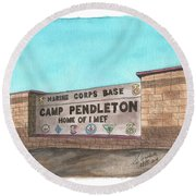 Camp Pendleton Welcome Round Beach Towel