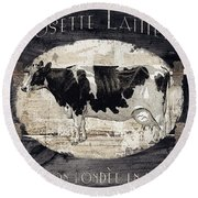 Campagne I French Cow Farm Round Beach Towel