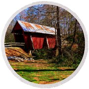 Campbell's Covered Bridge Est. 1909 Round Beach Towel