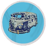 Round Beach Towel featuring the photograph Camper Van Waves by John Colley