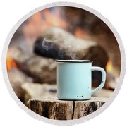 Campfire Coffee Round Beach Towel by Stephanie Frey