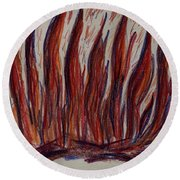 Campfire Flames Round Beach Towel by Theresa Willingham