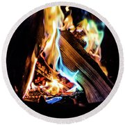 Campfire In July Round Beach Towel