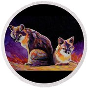 Campfire Surveillance Team Round Beach Towel by Bob Coonts