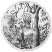 Round Beach Towel featuring the drawing Camping Fun by Leanne Seymour