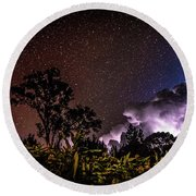 Round Beach Towel featuring the photograph Camping On The Volcano by T Brian Jones