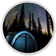 Round Beach Towel featuring the photograph Camping Star Light Star Bright by James BO Insogna