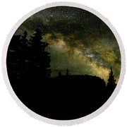 Camping Under The Milky Way 2 Round Beach Towel
