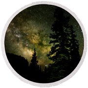 Camping Under The Milky Way Round Beach Towel