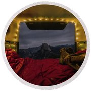 Camping Views Round Beach Towel by Alpha Wanderlust