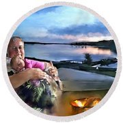 Camping With Grandpa Round Beach Towel
