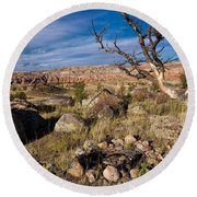 Campsite In Wind River Country Round Beach Towel